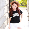 new 2017 casual black white letter printed T-shirts for girls kids tee tops clothes teen girls clothing kid short tee clothes