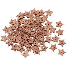 Новое поступление 100 шт 2 отверстия DIY звезда форма деревянная кнопка скрапбук ремесло швейные пуговицы