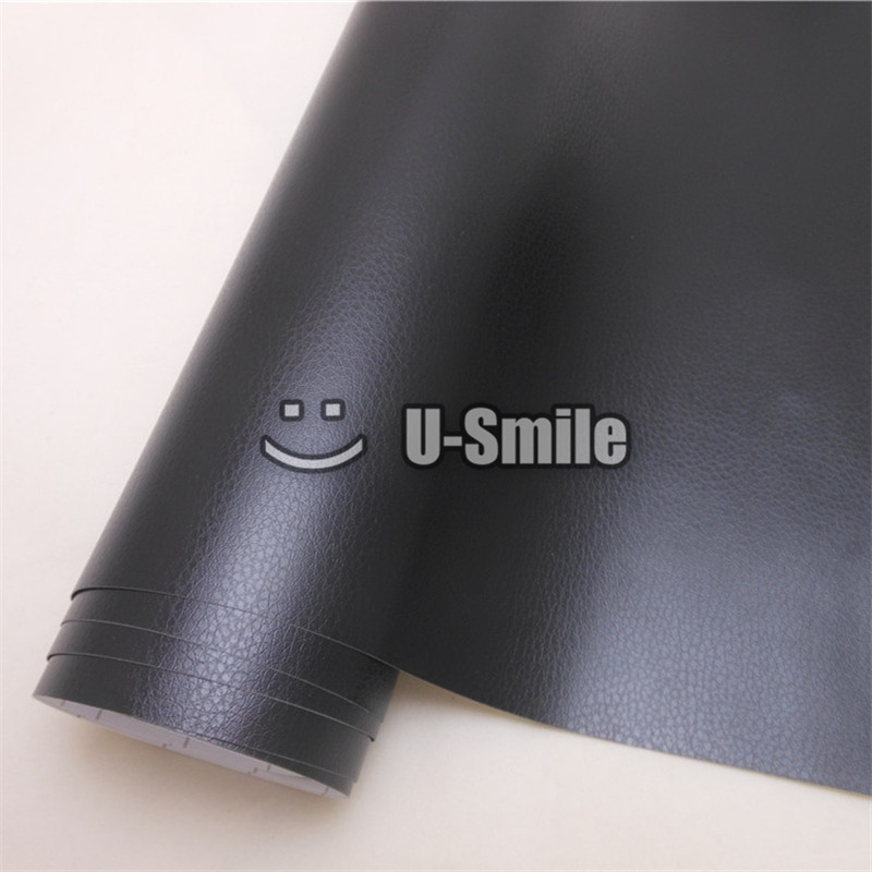 Black Leather Vinyl Wrap Film Leather Pattern PVC Adhesive Vinyl Film Stickers Car Internal Decoration Size:1.52*30m/Roll