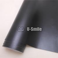 Black Leather Vinyl Wrap Film Leather Pattern PVC Adhesive Vinyl Film Stickers Car Internal Decoration Size:1.52*30m/Roll