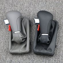 Gear Shift Knob Gaitor Boot Cover Leather Leather Gaiter Boot Gray Black AT LHD Only For Audi A3 A6 S6 Q7 2005-2012 for audi a3 a6 s6 q7 2005 2012 gear shift knob gaitor boot cover leather leather gaiter boot black at lhd only