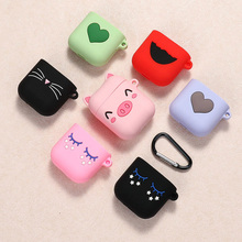 For AirPods Case Silicone 3D Cute Cartoon Earphone Apple Airpods 2 Funny Accessorie Protect Cover with Finger Ring