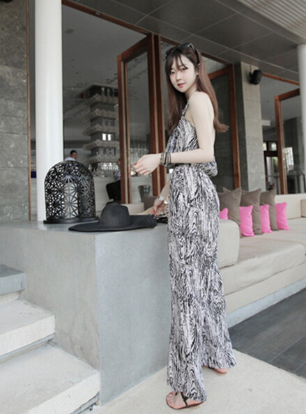 Free Shipping High Quality Hot Sale Korean Leisure Leopard Halter Neck Woman Chiffon Jumpsuit 7
