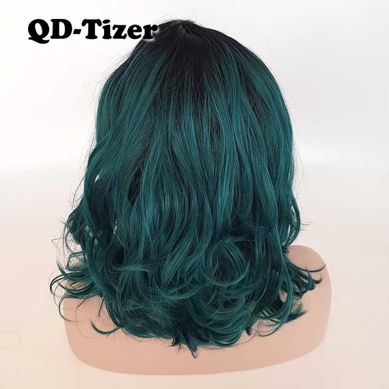 QD-Tizer Korte Ombre Golvend Groene Kleur Lace Front Pruiken Zijscheiding LOB Haar Synthetische Kant voor mode Meisje