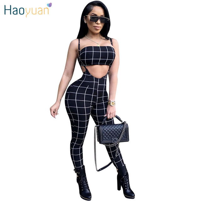 4583712cd39 HAOYUAN Black And White Plaid Sexy Jumpsuit 2019 Summer Overalls Two Piece  Set Crop Top Spaghetti
