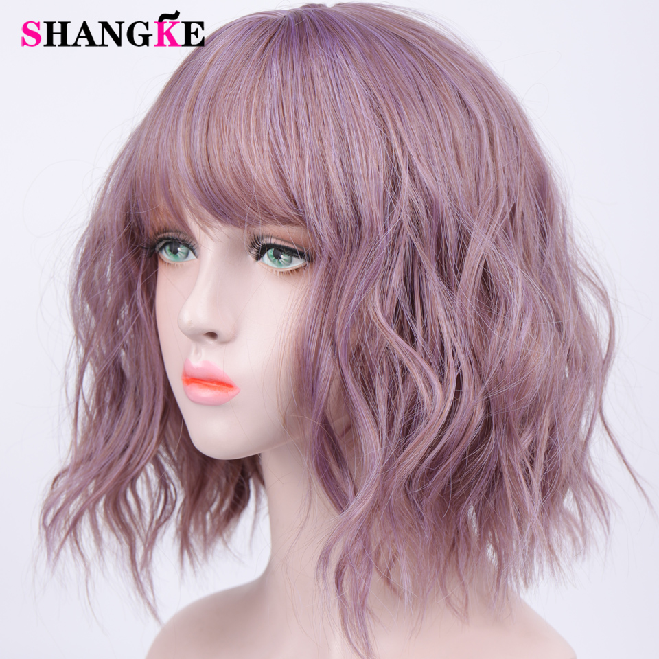 HTB1NZFzVmzqK1RjSZFpq6ykSXXaZ - SHANGKE Short Wavy Wigs for Black Women African American Synthetic Hair Purple Wigs with Bangs Heat Resistant Cosplay Wig