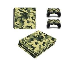 Nouveau Camouflage Camouflage vinyle peau autocollant protecteur pour Sony Playstation 4 Pro Console + 2 pièces contrôleur peau décalque couverture pour PS4 Pro