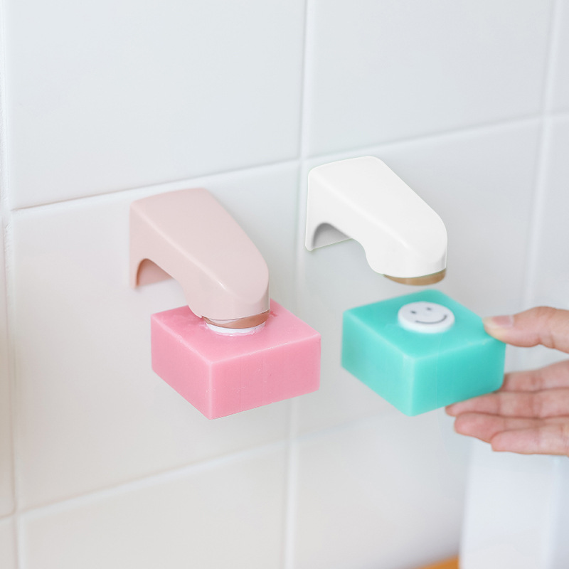 Home High Quality Magnetic Soap Holder Adhesion Wall Attachment Bathroom Absorber Free Punch Drain Soap Box Sucker