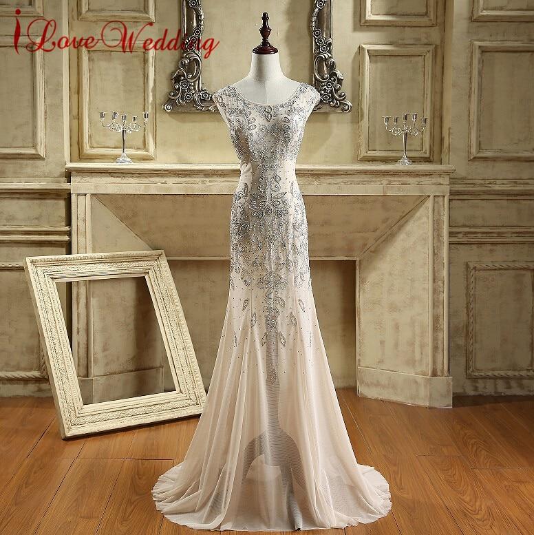 iLoveWedding Νέα Μακρύ Βραδινά Φορέματα με Κρύσταλλα Beading O Ραιζάρι Γοργόνα Prom Φόρεμα 2017 Φορέματα Σαμπάνιας Γυναίκες Νύχτα CY008