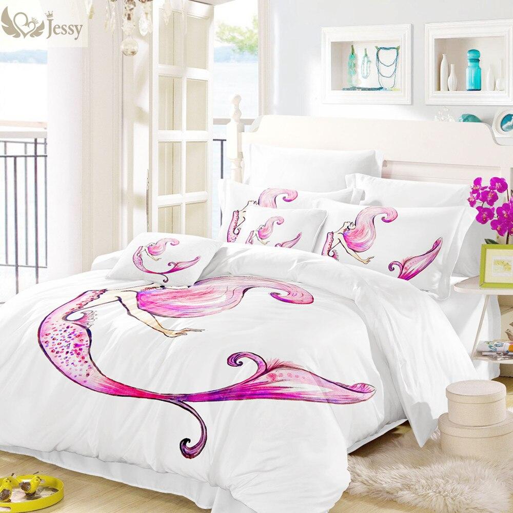 Home Textile Mermaid Bedding Set White Burgundy Fish Duvet ...