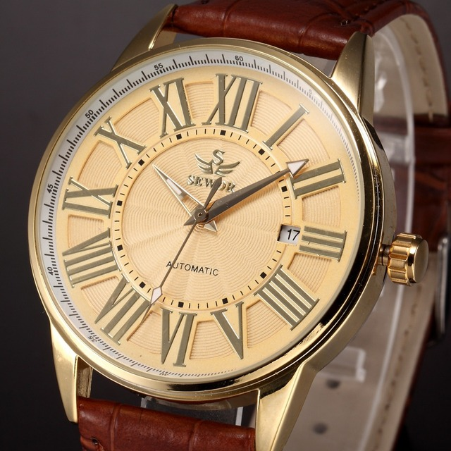 8eec6a2ce7e3d SEWOR Luxury Brand Men Mechanical Hand Wind Watch Retro Gold Roman Numeral  Brown Leather Strap Clock