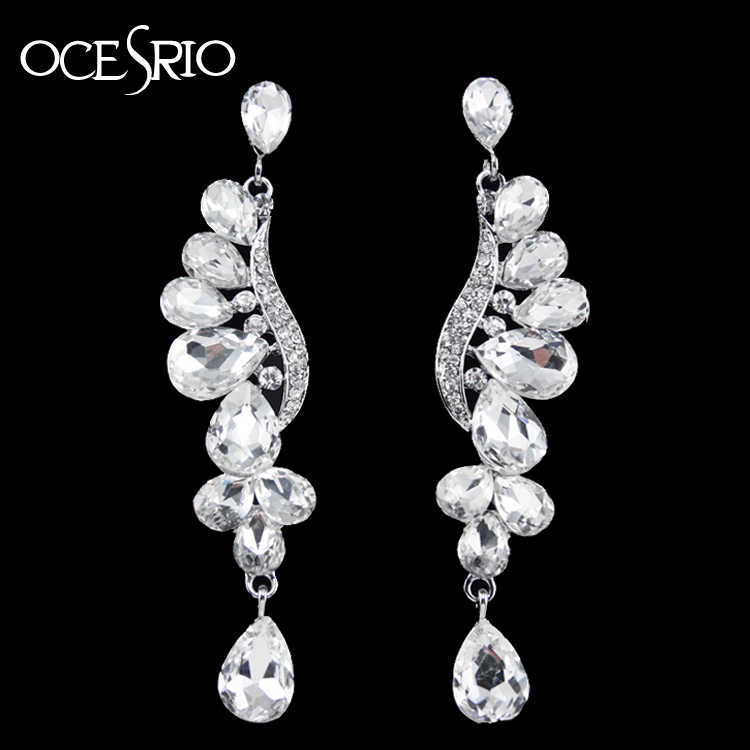 OCESRIO Luxury Wedding Earrings for Brides Crystal Angel Wings Silver Bride Earrings Zirconia for Wedding Jewelry ers-g71