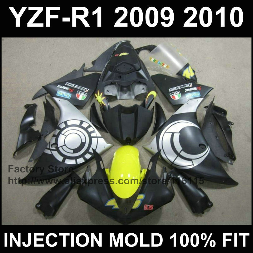 7gifts Injection fairings kit for YAMAHA 2009 2010 2011 YZF R1 09 10 11 YZFR1 YZF1000 black silver motorcycle fairing body kits blue moto fairing kit for yamaha yzf1000 yzf 1000 r1 yzf r1 2000 2001 00 01 fairings custom made motorcycle bodywork injection