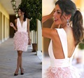 Real Photos Pink Feathers Elegant Cocktail Dresses Knee Length V-neck Sexy Short Party Dresses Robe De Cocktail Kokteyl Dresses