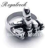 Flicking The Bird Middle Finger Up Biker Rings For Men Motorcyle Gear Jewelry