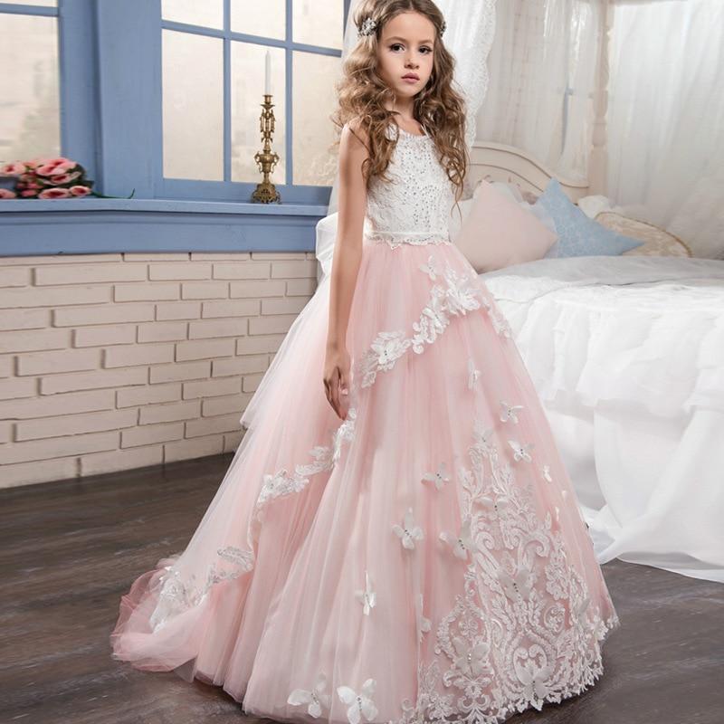 Flower Girls New Pink Butterfly Lace Sleeveless Flower Children's Wedding Garment Flower Mesh Dress For Girls'Banquet Vestido