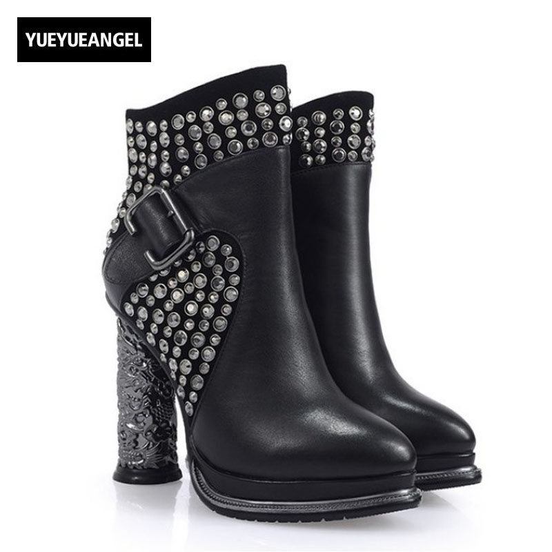 Euro Sexy Printed Super High Heel Womens Martin Boots 2018 New Rivet Punk Shoes Buckle Top Brand Genuine Leather Party Footwear cupless buckle rivet leather corset