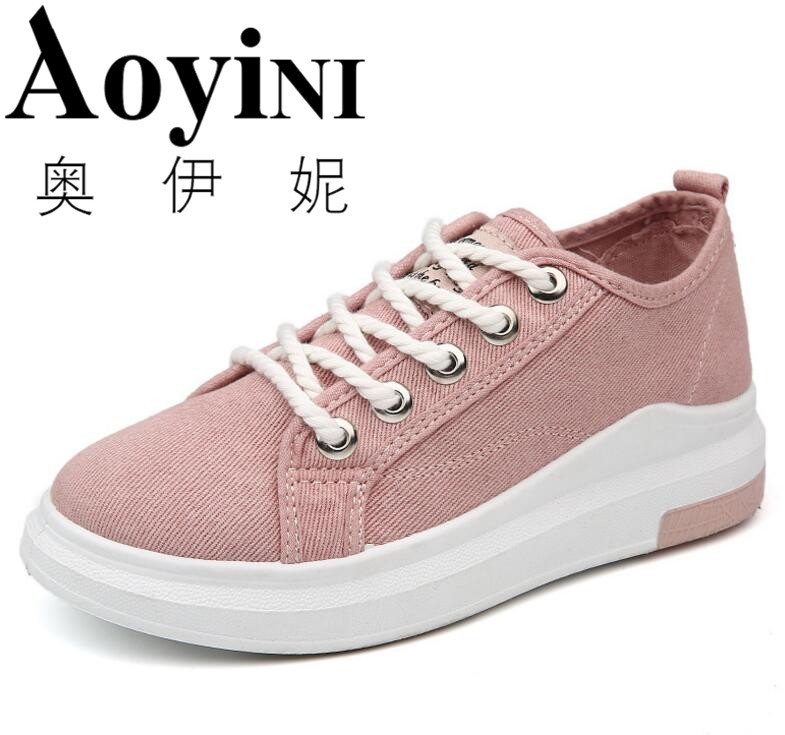 2017 Women Canvas Shoes Flats Ladies Platform Shoes Woman Slip On Solid Leisure Breathable Female Ladies Creepers Zapatos Mujer akexiya casual women loafers platform breathable slip on flats shoes woman floral lace ladies flat canvas shoes size plus 35 43