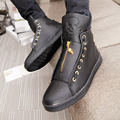 Men's Casual Shoes New Korean Version Of The Trend Of Personality To Help Men high-shoes Breathable Skull Zipper Shoes