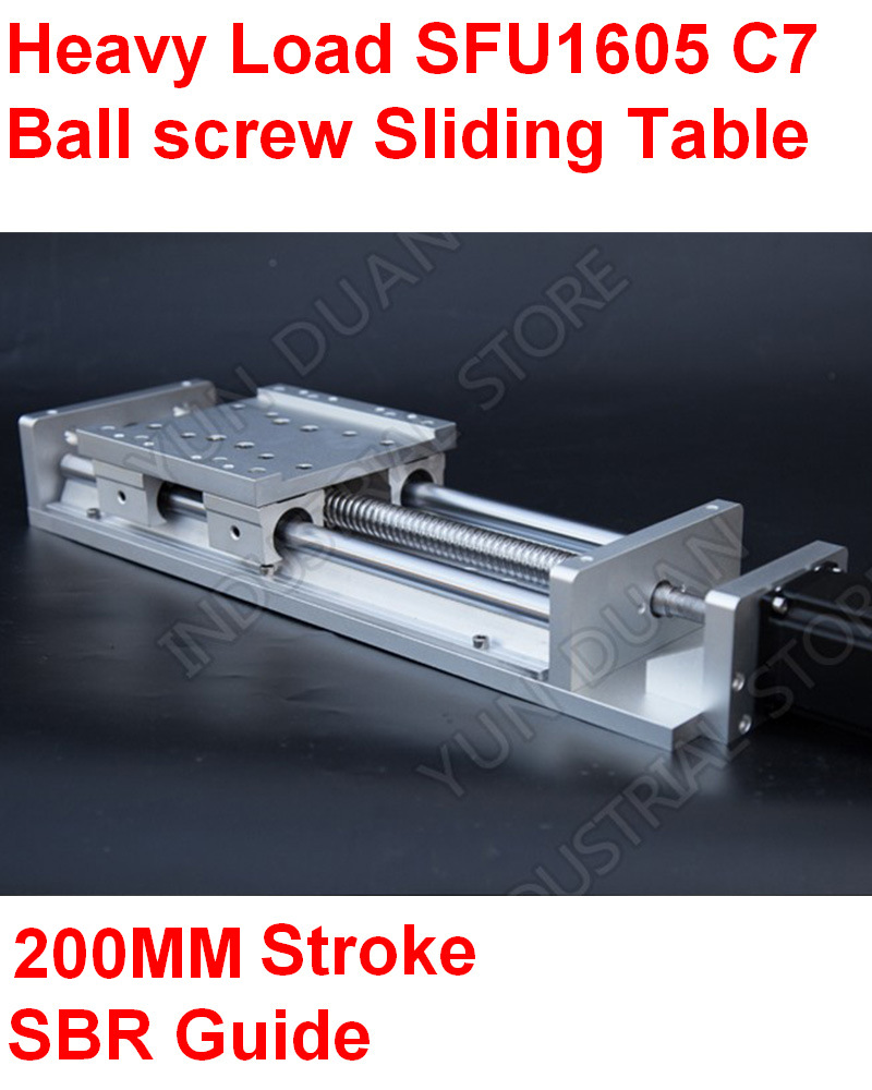 CNC Heavy Load Electric Milling Sliding Table Slide Linear Stage SFU1605 C7 Ball Screw 16MM SBR Guide 200MM Stroke PlatformCNC Heavy Load Electric Milling Sliding Table Slide Linear Stage SFU1605 C7 Ball Screw 16MM SBR Guide 200MM Stroke Platform