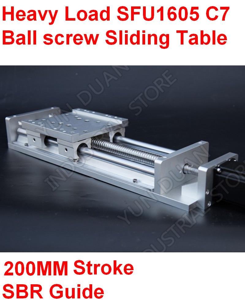 CNC charge lourde fraisage électrique Table coulissante coulissante étape linéaire SFU1605 C7 vis à billes 16 MM SBR Guide 200 MM course plate-forme