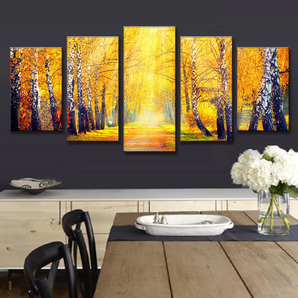 5 Pcs/Set Landscape Fall in the Forest Printed Canvas Painting Gold ...