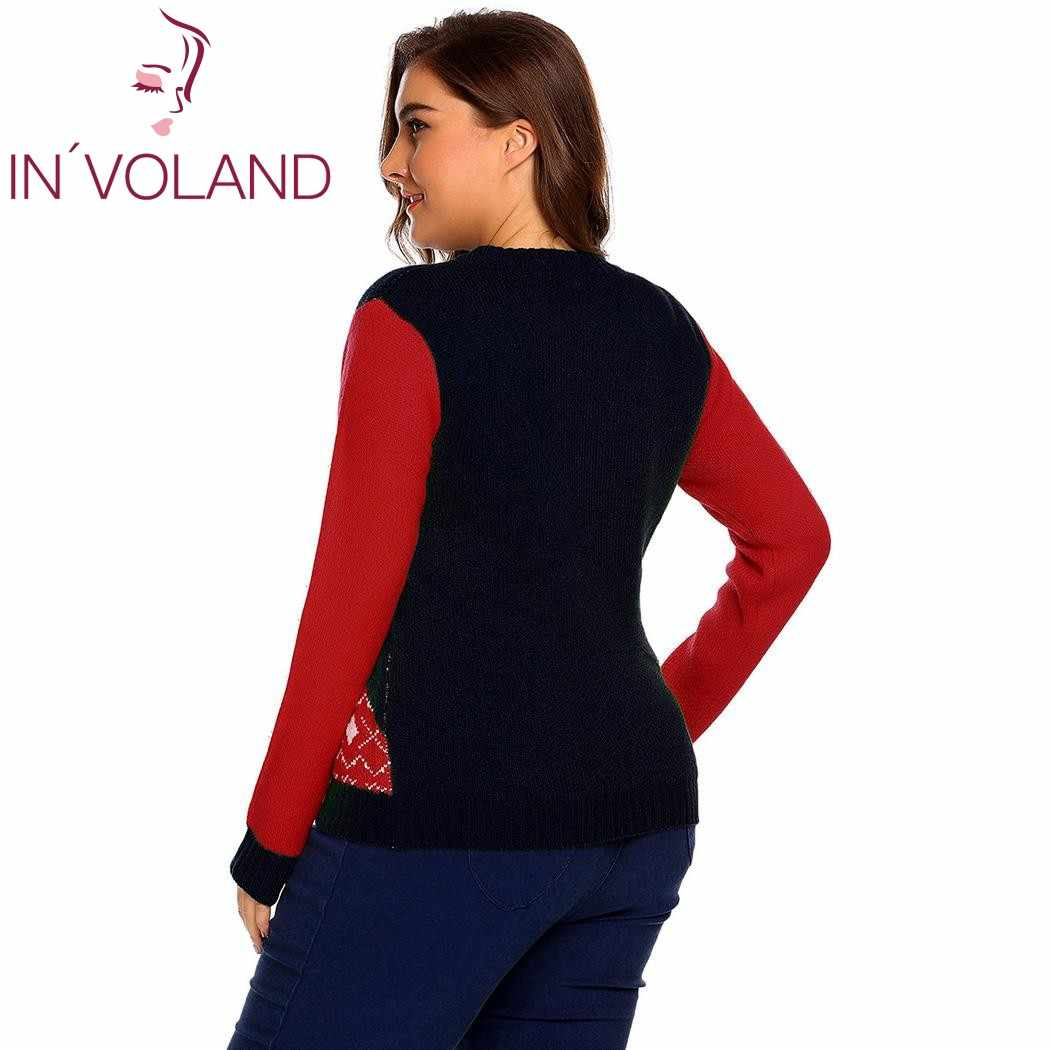 ... IN VOLAND Plus Size L-4XL Women Christmas Sweater Tops Autumn Winter  Large Pullovers ... 29b44bc58d01