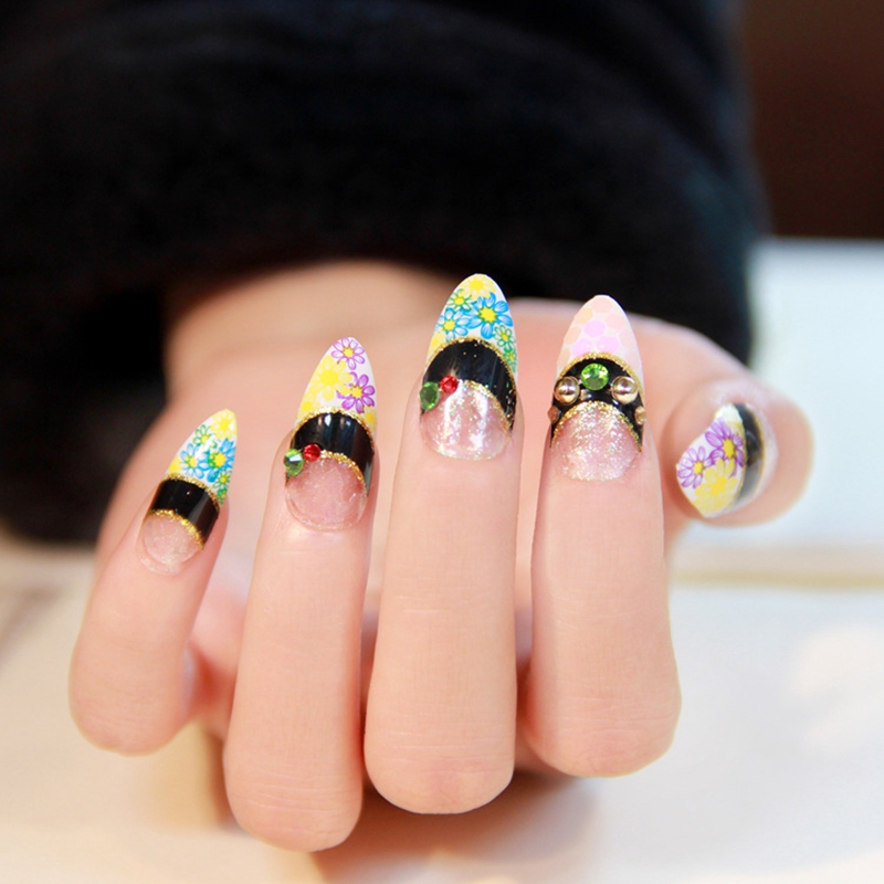 Spring Coming Colorful Daisy Flowers Pointed French False Nails ...