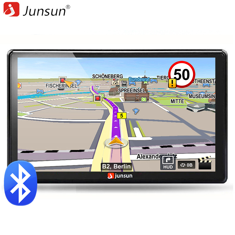 Junsun 7 inch HD Car GPS Navigation Bluetooth AVIN Capacitive screen FM 8GB/256MB Car avan Vehicle Truck GPS Europe Sat nav gps навигатор lexand sa5 hd