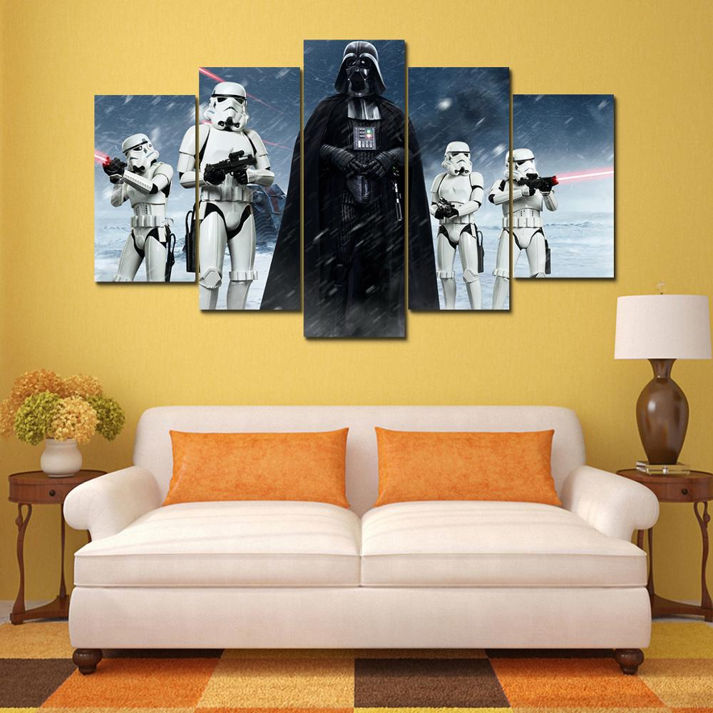 HD Prints Pictures Wall Art Canvas Posters Home Decor 5 Pieces Star ...