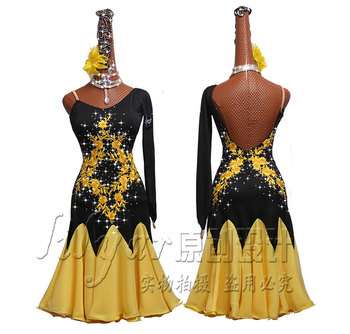 Latin Dance Competition Dresses Performance Dresses Black Shoulder-slanting Yellow Embroidered Pleated Skirt