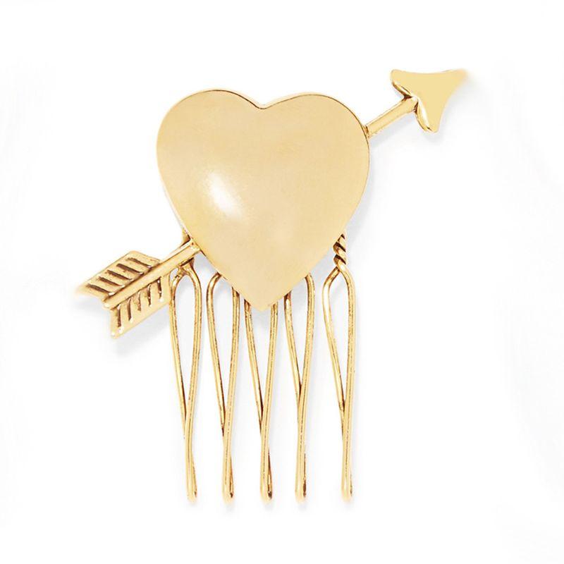 Women Bridal Cute Arrow Heart Cupid Hair Comb Metal Gold Jewelry Hair Clip European Style Wedding Updo Hairpin Ponytail Holder