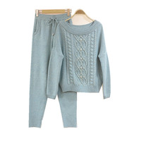 Winter Diamond beading Woolen and Cashmere Knitted Suit Slash neck Sweater + Mink Cashmere Trousers Leisure Two piece wj1226