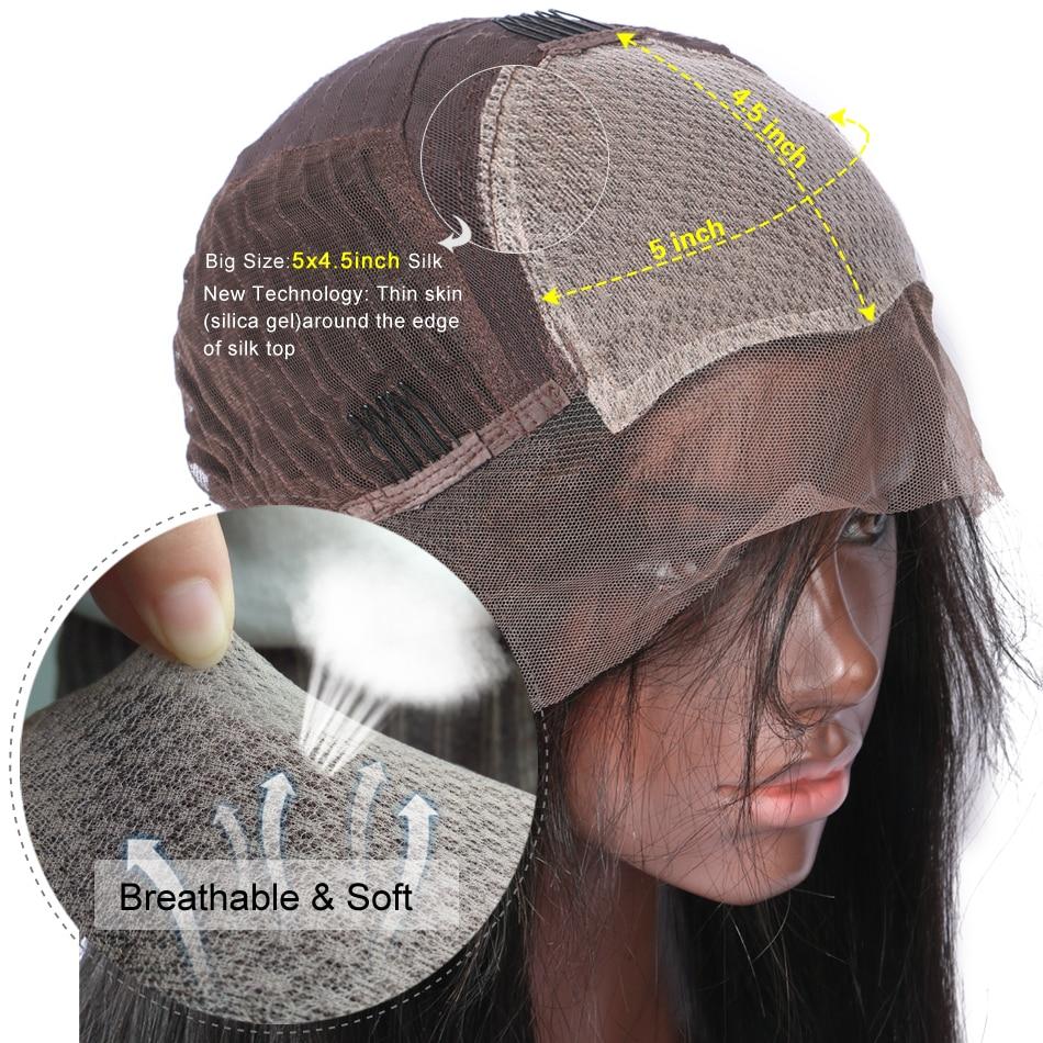 LUFFY Pre Pukan 250 Gostota svilene podlage Čipke Sprednje lasulje - Človeški lasje (za črne) - Fotografija 5