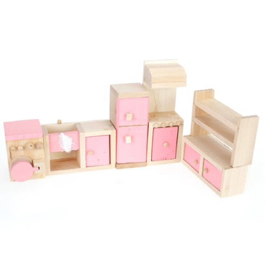 Pink Children Wooden Doll House Kitchen Furniture Kids Room ...