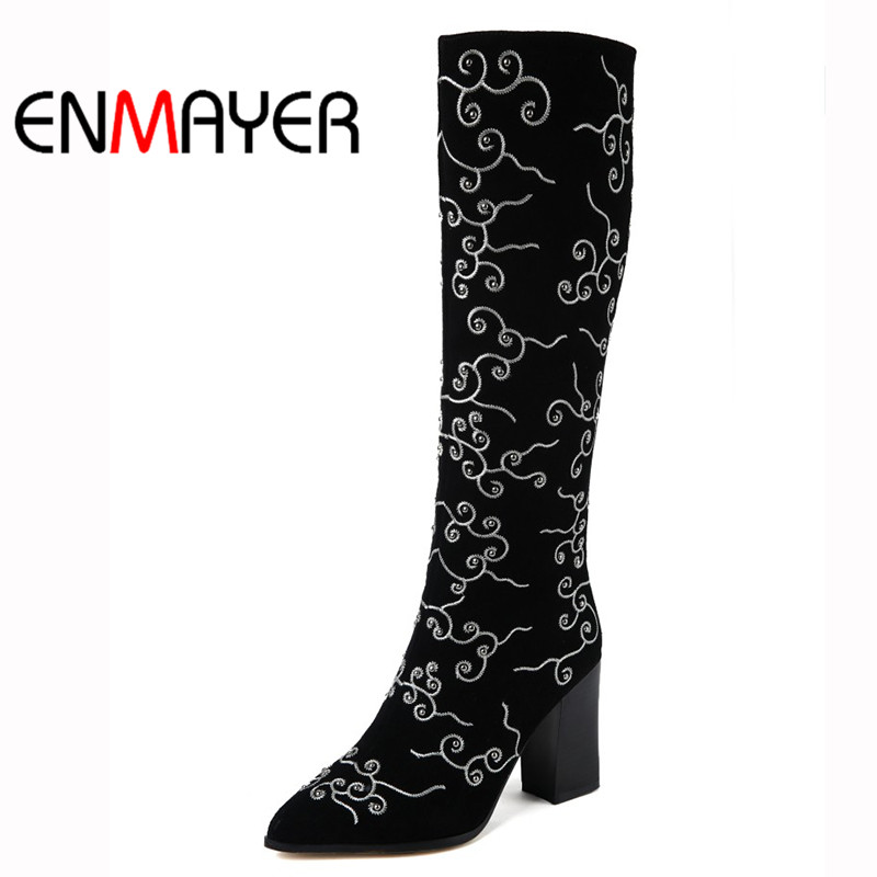 ENMAYER Long Winter Boots Pointed Toe High Heel Embroidery Shoes Suede Platform Warm Boots Black Shoes Women Large Size 34-43 enmayer women boots shoes new pointed toe fashion knee high full grain leather winter long boots for women platform motorcycle