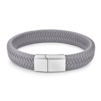 Braided Leather Men's Bracelet with Magnetic Stainless Steel Clasp Bracelets Hot Promotions Jewelry Men Jewelry New Arrivals Metal Color: Grey 1 Length: 20.5cm