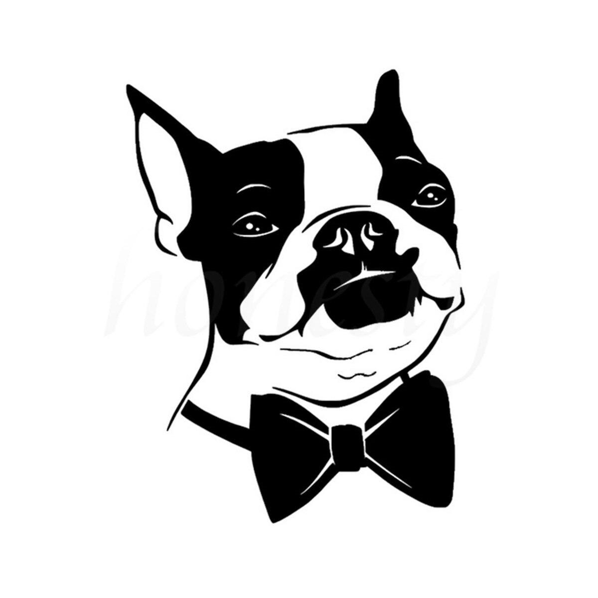 Bow Tie Boston Terrier Dog Vinyl Decal Wall Home Glass Window Door Laptop Car Stickers Car Styling Truck Black 11.5cmX15.3cm