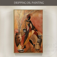 Free Shipping Artist Handmade African Oil Painting On Canvas Abstract Figure Woman for Living Room