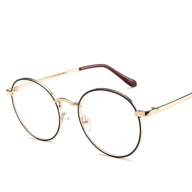 2018 retro for women men eyeglasses frame luxury brand design full metal round eye glasses frame korean nerd clear light glasses
