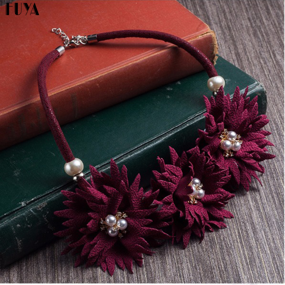 New cute bohemian fabric rose flower choker necklace women Boho pearl rhinestone pendant statement necklace colar jewelry gifts
