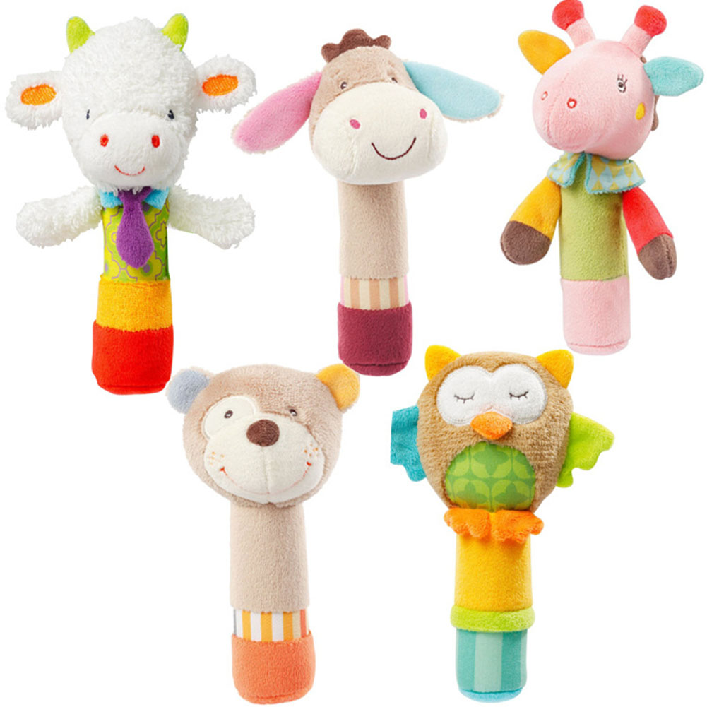 0-3 Years Baby Animal Stuffed Plush Rattles Doll Hand Bells Owl Bear BB Sound Educational Musical Kids Toys for Children Gifts