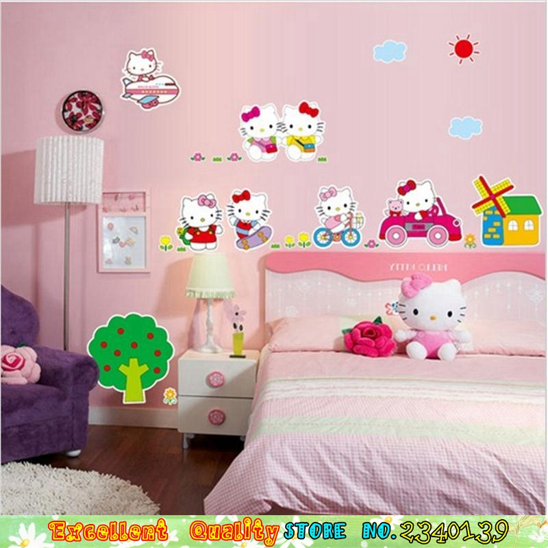 Hot PINK Hello Kitty Cat Wall Stickers Baby Girls Room Decoration Wall  Decals Waterproof Vinyl Wall Sticker For Children Bedroom In Wall Stickers  From Home ...