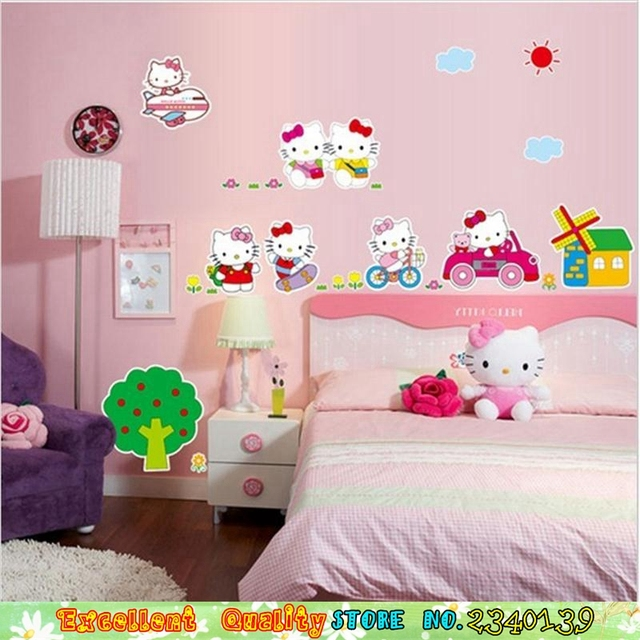 Hot PINK Hello Kitty Cat Wall Stickers Baby Girls Room Decoration Wall  Decals Waterproof Vinyl Wall Part 38