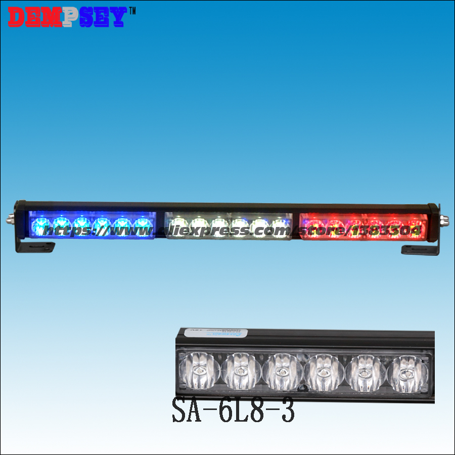 SA-6L8-3 High power LED Red/Blue Flashing Emergency Warning Car Light ,DC12V Police lightbar, GenIII X 1Watt LED,3pcs head light ltd 5092 warning light police car led warning light round 5w strobe red blue flashing factory dc12v dc24v