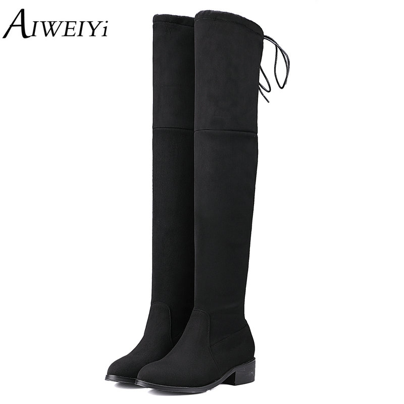 AIWEIYi Women Over the Knee Boots Square Low Heel Platform Shoes Stretch Fabric Fur Warm Winter Snow Boots Knee High Shoes sgesvier women winter fur shoes vintage low square heels buckle knee high boots round toe platform snow boots for women ox019