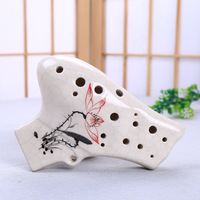 16 Holes Double Pipe Alto C Prossional Ceramics Ocarina Chinese Musical Instrument Flute