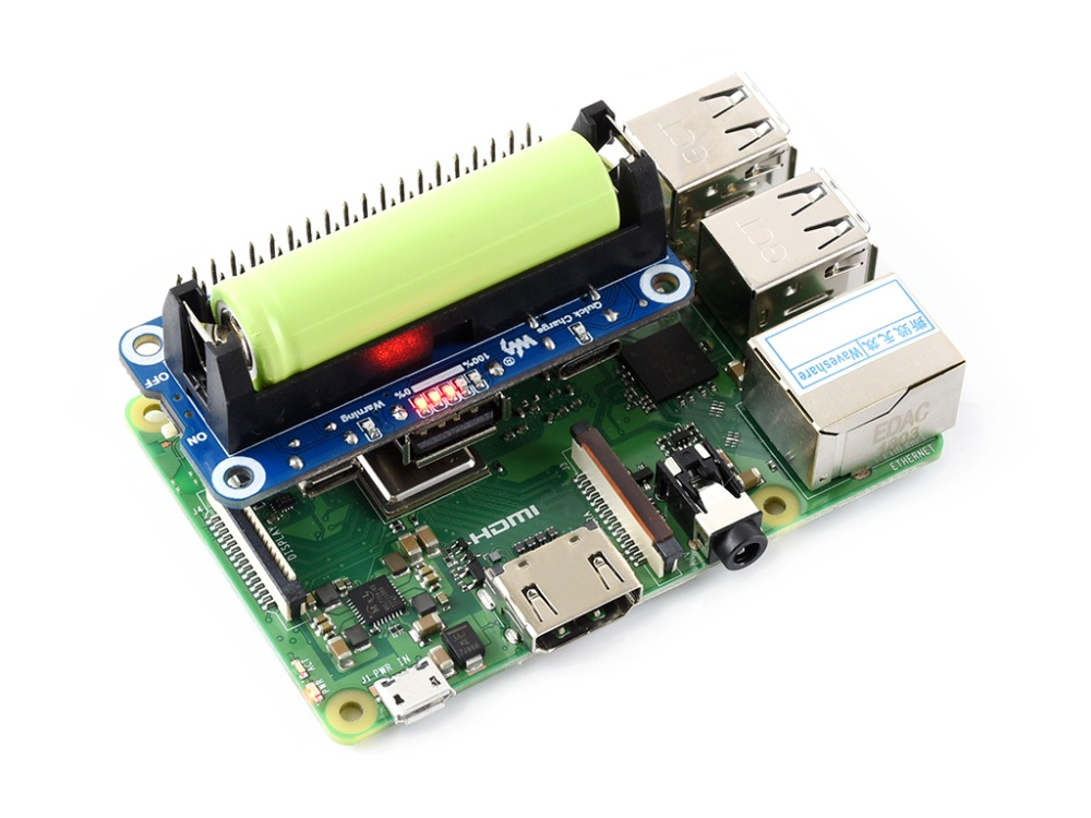 Waveshare Raspberry Pi Li-ion Battery HAT, 5V Regulated Output, Bi-directional Quick Charge