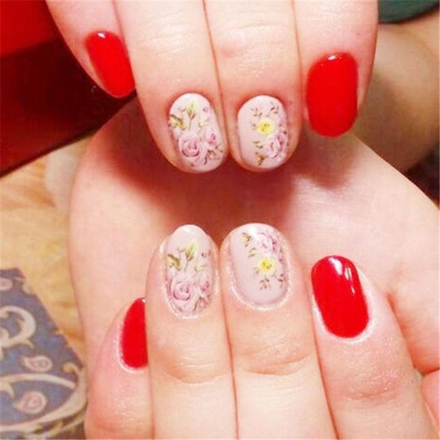 1Pc Rink Flowers Nail Art Water Decals Stickers