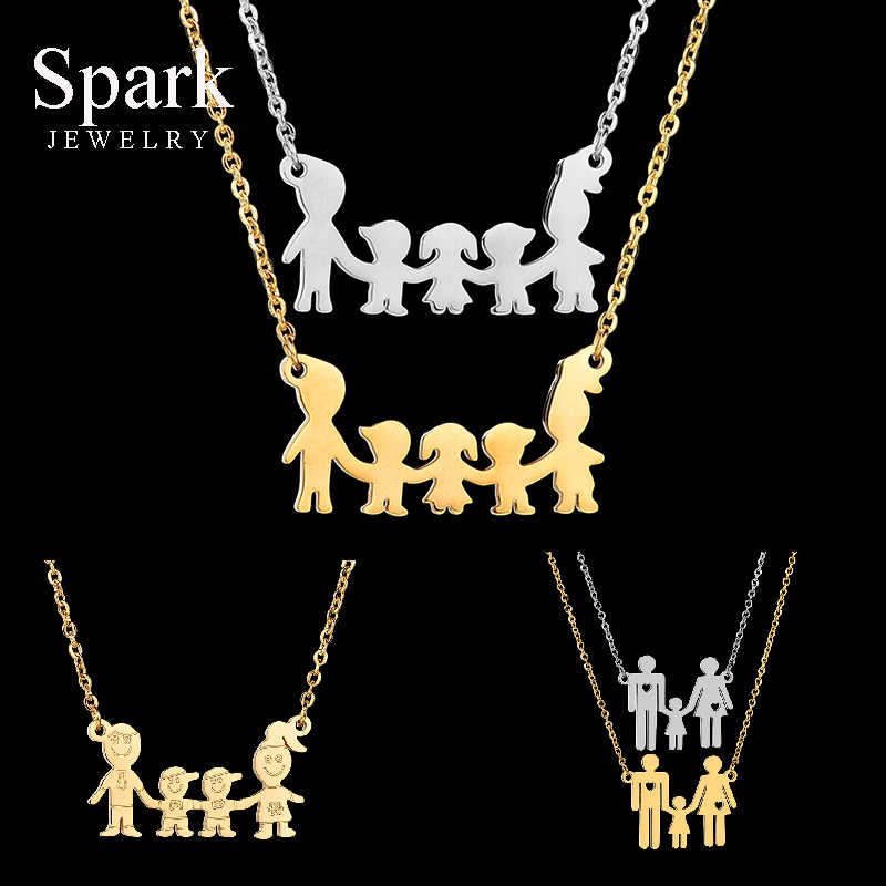 Lovely Women Firgure Family Necklace With Mom Dad Boys Girls Cartoon Love Daughter Son Heart Chain Necklace Gifts For Kids